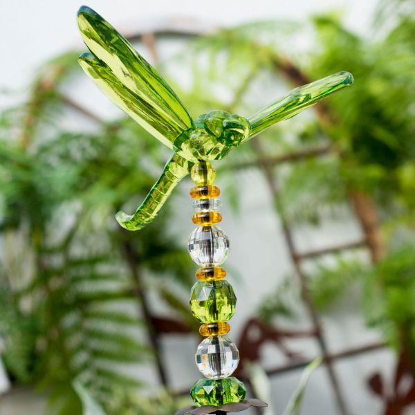 Gartenstecker Acryl Libelle, grün/orange