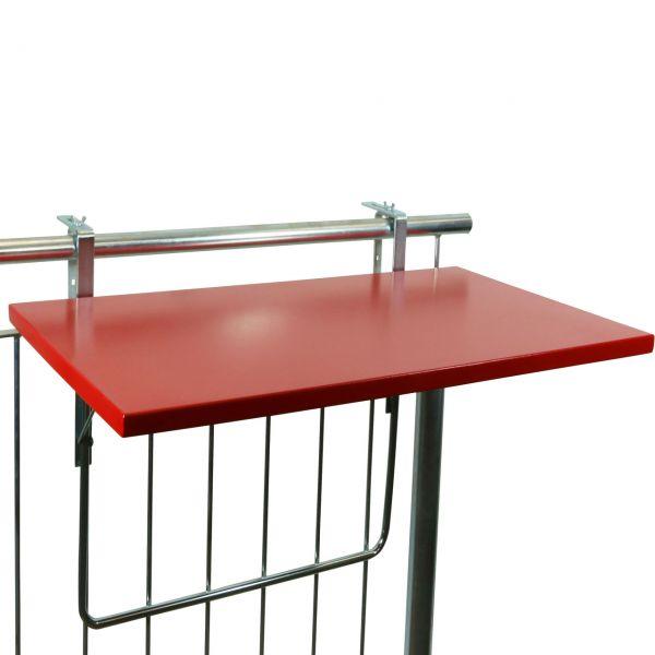 Balkonklapptisch Metallplatte rot, 50 x 94cm