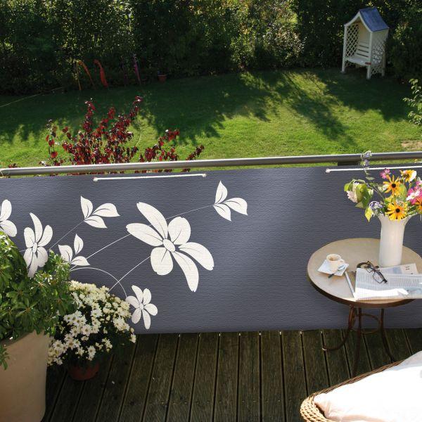 Balkonbespannung Blüten, anthrazit, 90x300cm