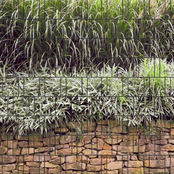 Sichtschutzstreifen bedruckt, Motiv Steinmauer & Gräser