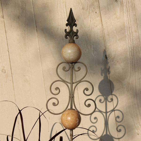 Metall-Gartenstecker Kugeln & Ornament, rost-antik