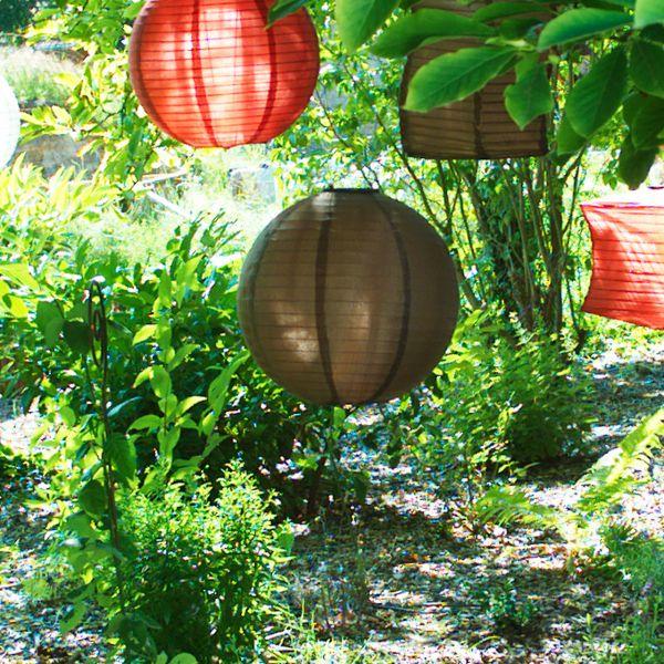 Solar LED-Laterne, wetterfest, rund, dunkelbraun