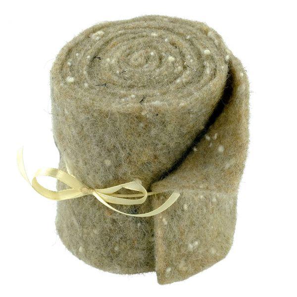 Woll-Filzband extrabreit, gepunktet beige