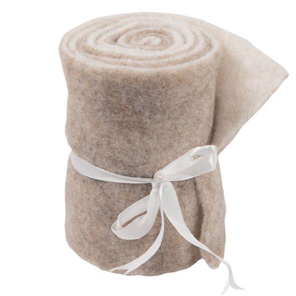 Woll-Filzband, extrabreit, zweifarbig wollweiß/beige