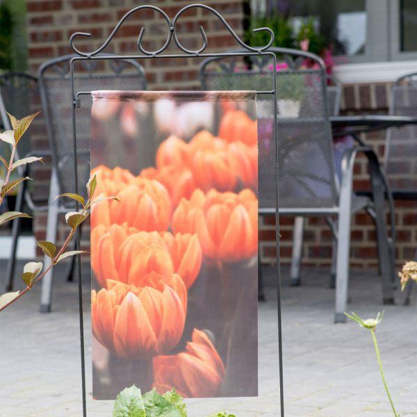 Gartenfahne - Blumenstecker Tulpe orange