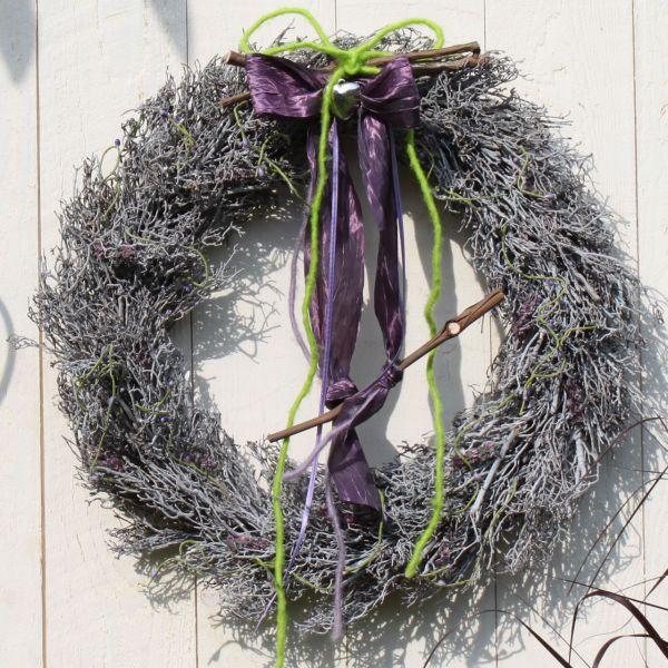 Dekokranz Lavendel, grau/flieder