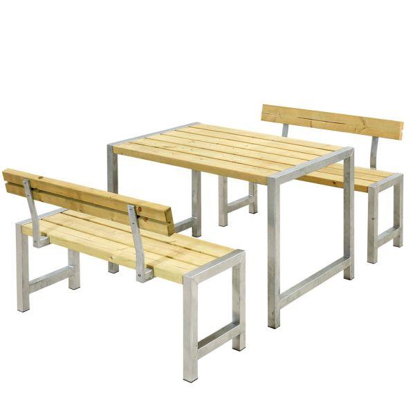 Balkonmöbel-Set PLANKEN mit Rückenlehnen, 127cm