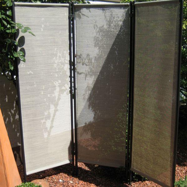 Paravent Kunststoffgewebe, natur/anthrazit