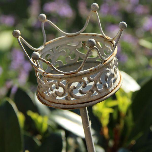 Metall-Gartenstecker Krone, grau-antik