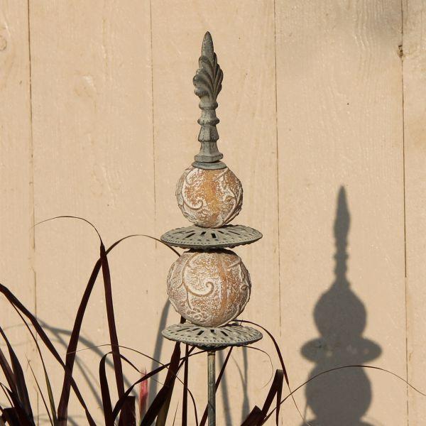 Metall-Gartenstecker Steinkugeln, grau-antik