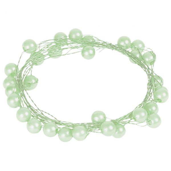 Basteldraht mit Perlen, lindgrün