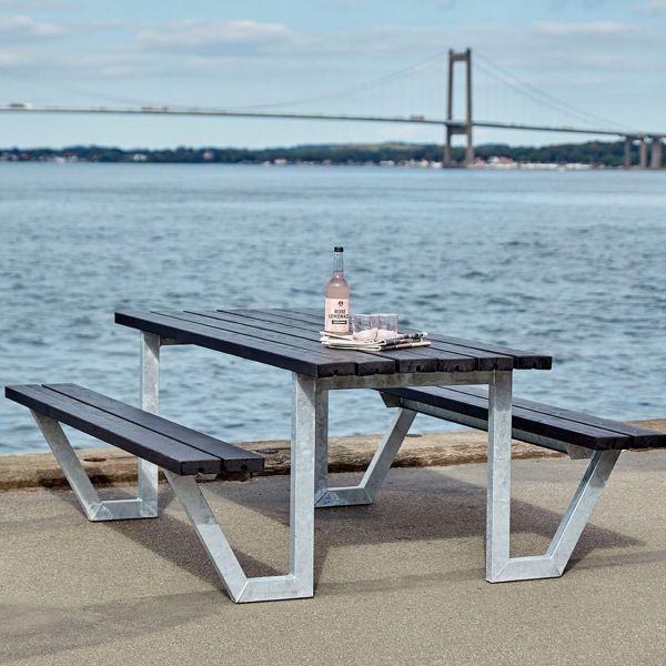 Picknicktisch mit Bänken WEGA, Holz & Metall