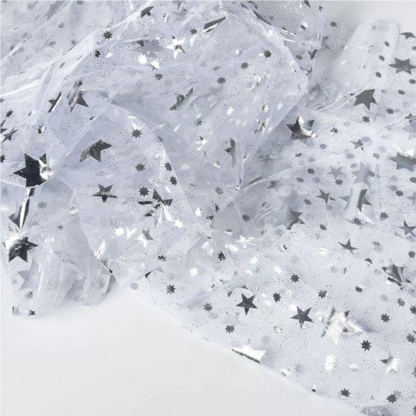 Dekostoff Organza, 150 x 200cm, Sterne in silber auf weiß