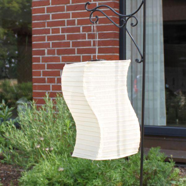 Solar LED-Laterne, wetterfest, eckig-geschwungen, sandhell