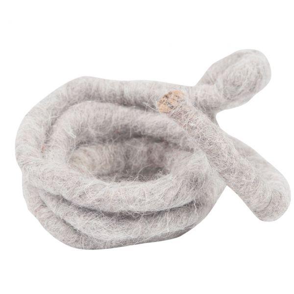 Woll-Filzkordel mit Draht, Ø 15 mm, grau