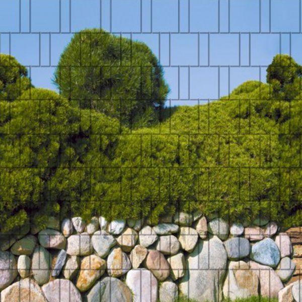 Sichtschutzstreifen bedruckt, Motiv Steinmauer & Pinien Mallorca