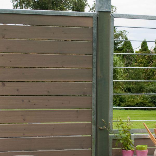 Holzfüllung in Zinkrahmen, Sichtschutzelement Cubic, taupe