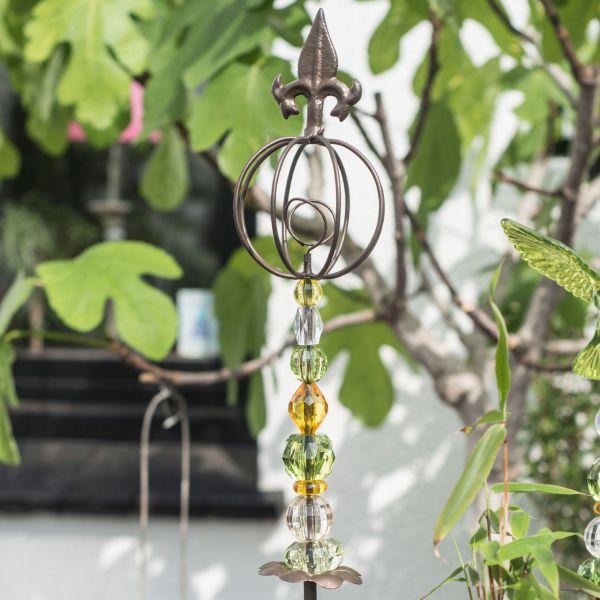 Gartenstecker Acryl Lilie und Drahtkugel, grün/orange