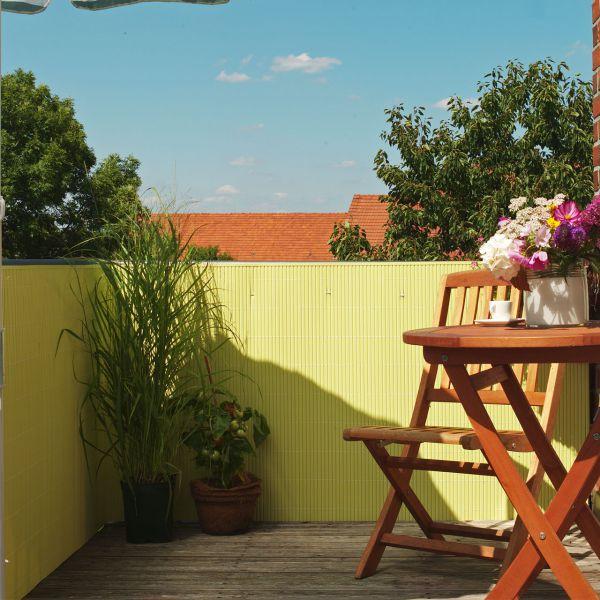 Sichtschutzmatte Kunststoff Montageset, Rügen pastellgelb