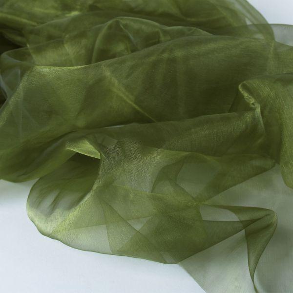Dekostoff Organza, olivgrün, 150 x 200cm