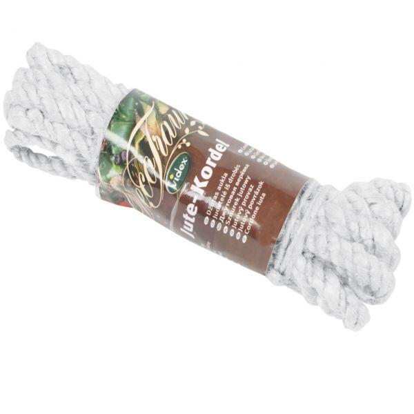 farbige Jutekordel, breit Ø 12mm, weiß