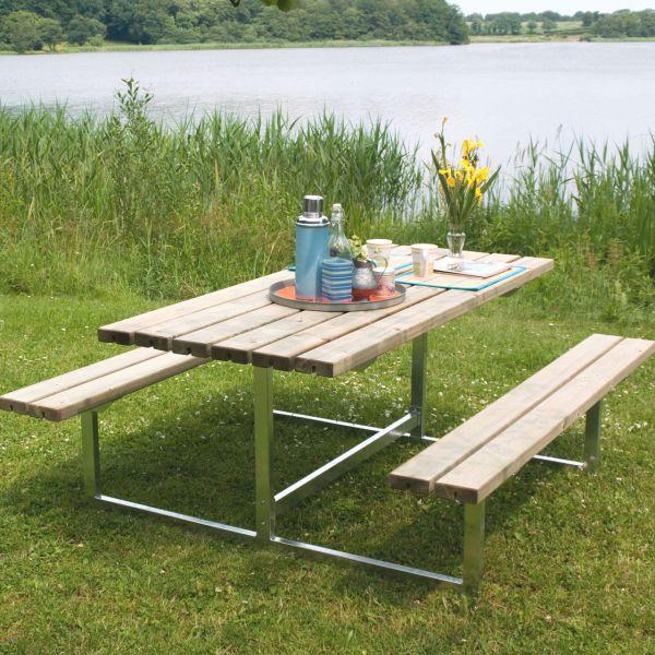 Picknicktisch mit Bänken BASIC, Holz & Metall