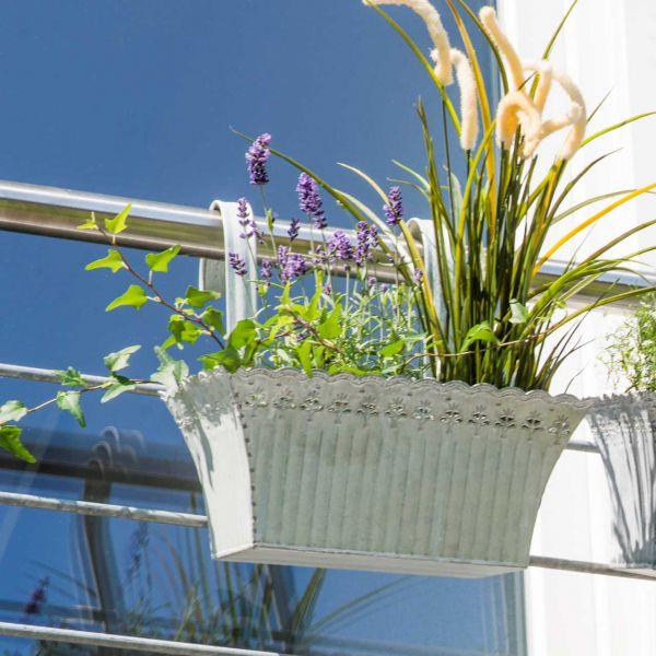 Balkon-Hängetopf Olessia, rechteckig, weiß-antik