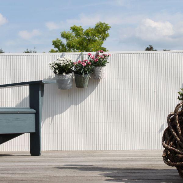 Sichtschutzmatte Kunststoff Montageset, Rügen weiß