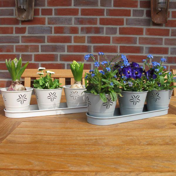 Pflanztopfset Romy, 3 Töpfe mit Untersetzer