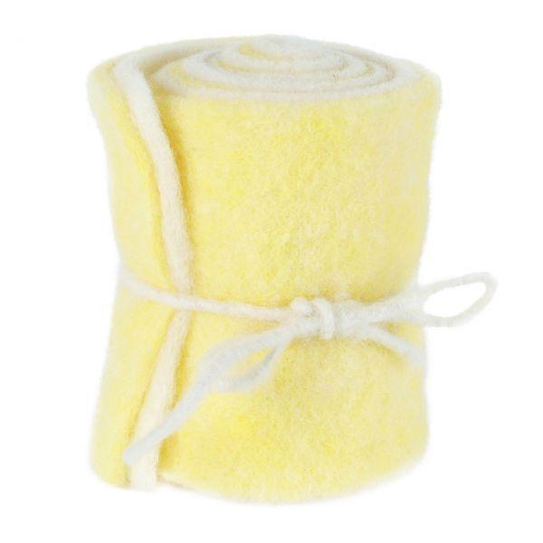 Woll-Filzband extrabreit, zweifarbig gelb/wollweiß