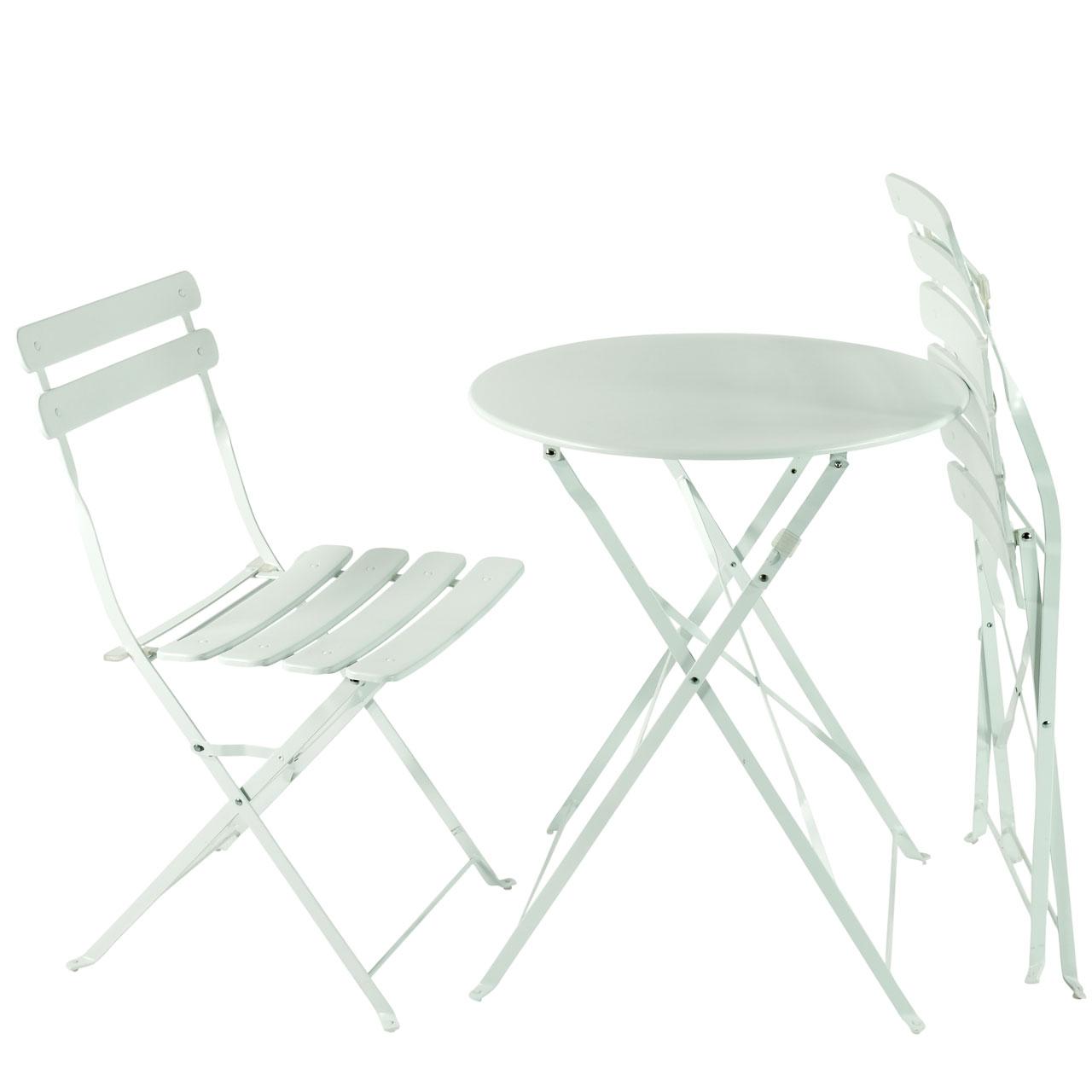 balkon gartenm bel bistro set klappbar metall wei. Black Bedroom Furniture Sets. Home Design Ideas