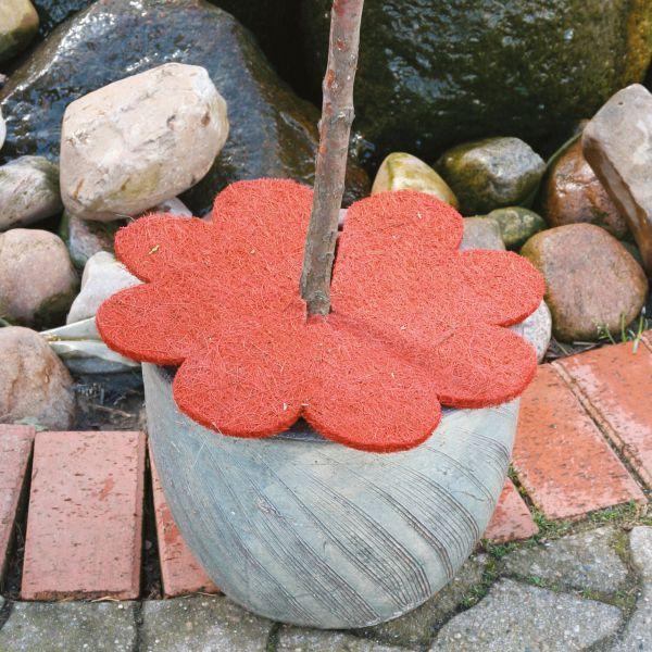 Kokosmatte Winterschutz Blume mit Loch rot