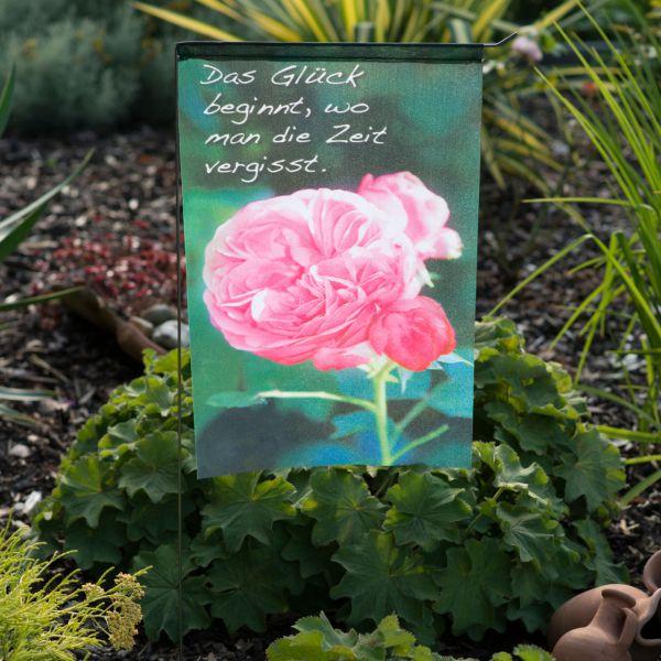 Gartenfahne - Blumenstecker Glück