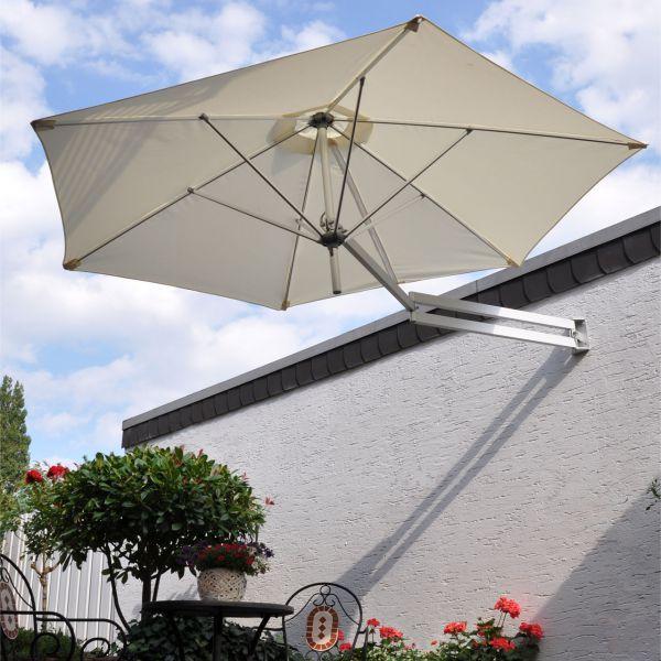 Sonnenschirm als Wandschirm, Ø 250cm, creme