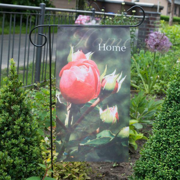 Gartenfahne - Blumenstecker Rose