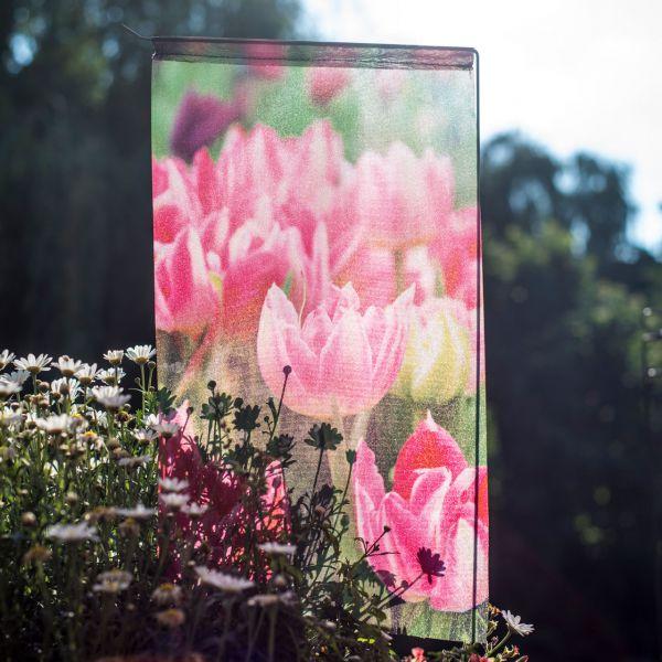 Gartenfahne - Blumenstecker Tulpe pink
