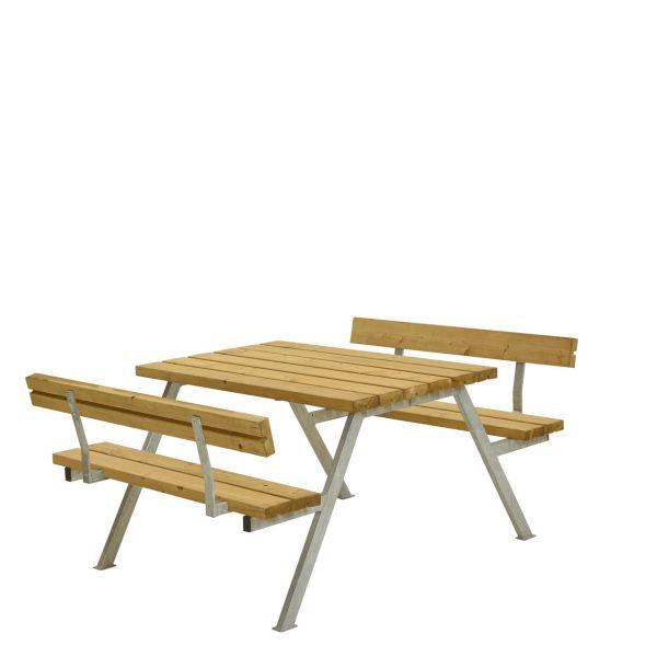 Picknicktisch mit Bänken ALPHA & Lehnen, 4 Plätze
