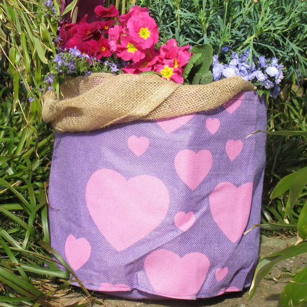 Jute-Übertopf Hearts, violett