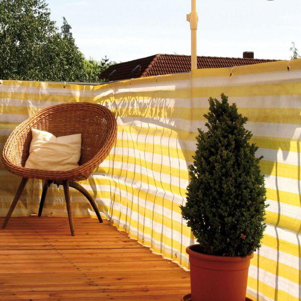 Balkonbespannung PP, gelb/weiß