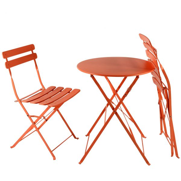balkon gartenm bel bistro set klappbar metall orange. Black Bedroom Furniture Sets. Home Design Ideas