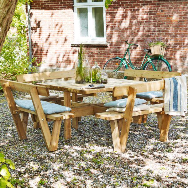 Picknicktisch mit Bänken NATURE, quadratisch