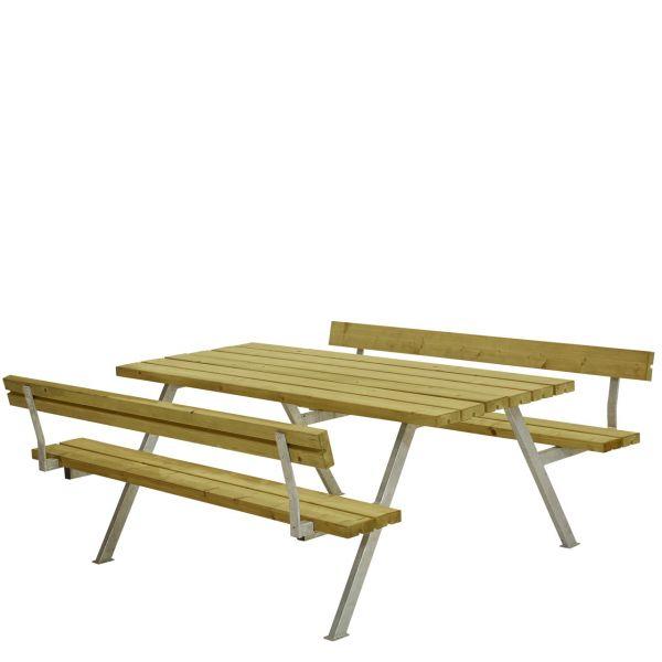Picknicktisch mit Bänken ALPHA & Lehnen, 6 Plätze