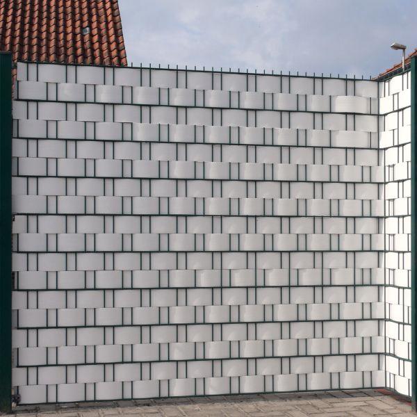 Sichtschutzstreifen Hart-PVC, Woodline weiß