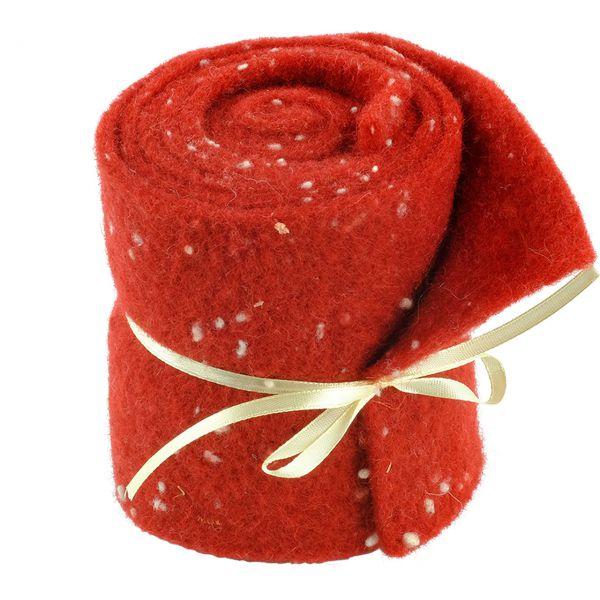 Woll-Filzband extrabreit, gepunktet rot