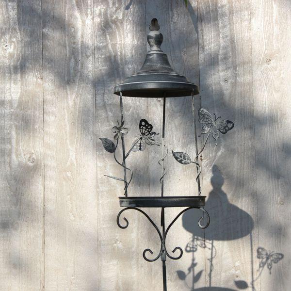 Metall-Gartenstecker Vogelfutterstation verziert, grau-antik
