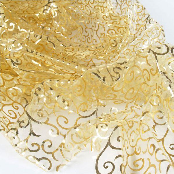 Dekostoff Organza, 150 x 200cm, Ranken-Muster in silber/gold auf transparent