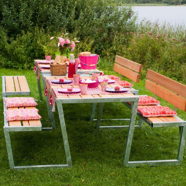 Picknicktisch mit Bänken SIGMA & Lehnen