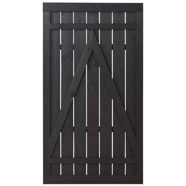 Sichtschutztür Holz, Rustik schwarz