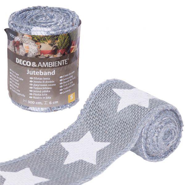 Deko-Juteband Sterne, grau/weiß