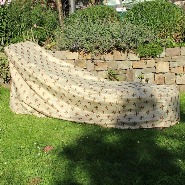 Gartenmöbel-Schutzhülle Gartenliege, Lilien-Design beige
